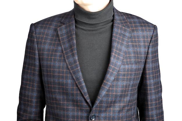 Jaqueta de terno de lã masculina na imagem de célula isolada no fundo branco.