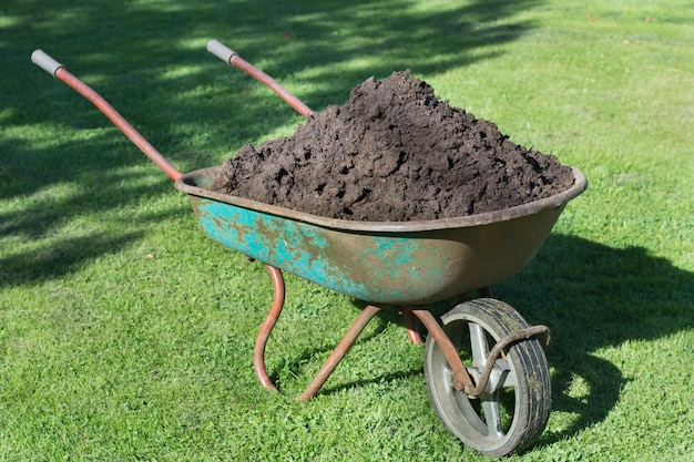 Jardim-carrinho de mão cheio de terra em uma fazenda.