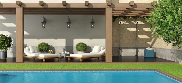 Jardim com pérgola e piscina