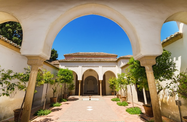 Jardim do pátio no palácio de alcazaba, malaga, a andaluzia, espanha.
