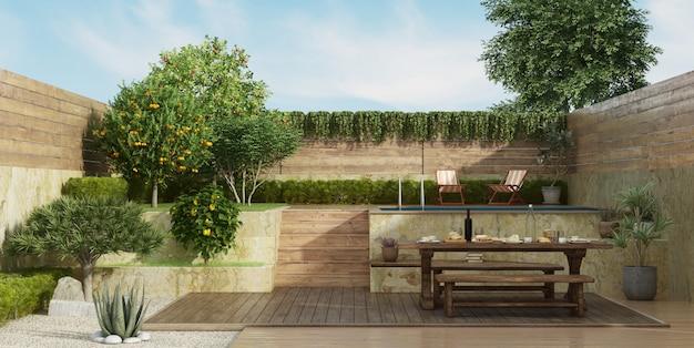 Jardim em dois níveis, com mesa de jantar antiga no piso do convés