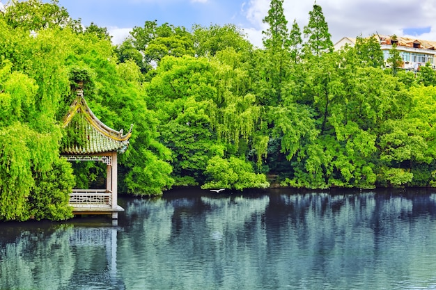 Jardim típico chinês, parque com rochas bizarras. pequim.