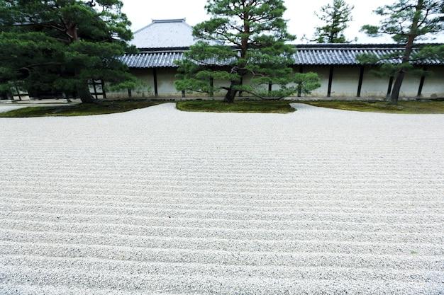 Jardim zen japonês com pedra na areia, kyoto japão
