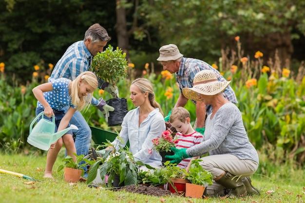 Jardinagem familiar feliz