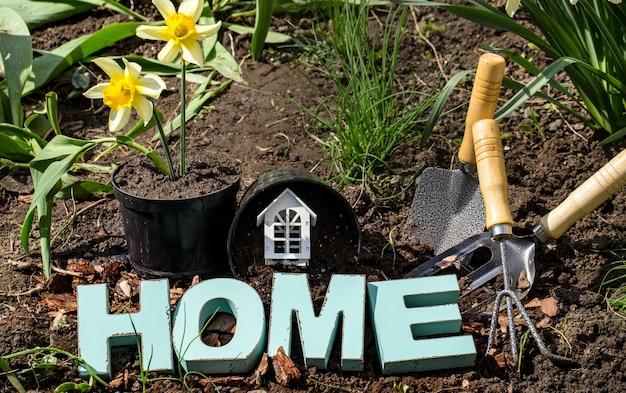 Jardinagem, lindas flores de primavera com materiais de jardim
