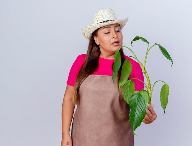 Jardineira de meia-idade com avental e chapéu segurando uma planta olhando para ela intrigada