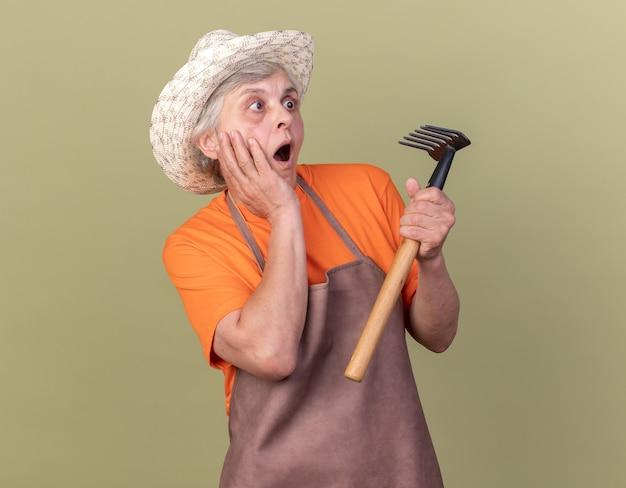 Jardineira idosa animada com chapéu de jardinagem coloca as mãos no rosto e segura o ancinho isolado na parede verde oliva com espaço de cópia