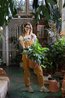 Jardineira segurando planta de casa sorrindo florista freelancer em casa de jardim com estufa ou loja