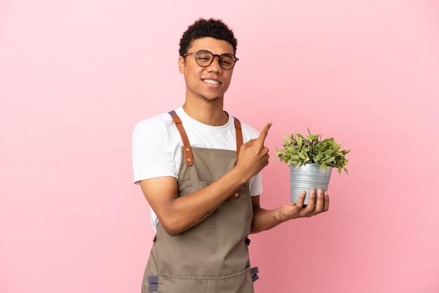 Jardineiro africano segurando uma planta isolada em um fundo rosa apontando para o lado para apresentar um produto