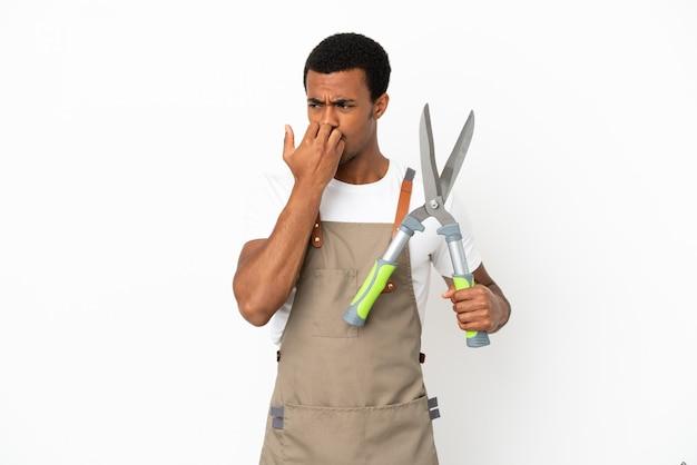 Jardineiro afro-americano segurando uma tesoura de poda sobre um fundo branco isolado, tendo dúvidas