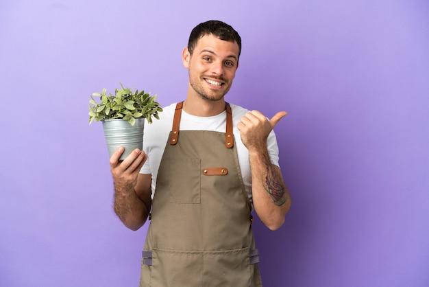 Jardineiro brasileiro segurando uma planta sobre um fundo roxo isolado apontando para o lado para apresentar um produto