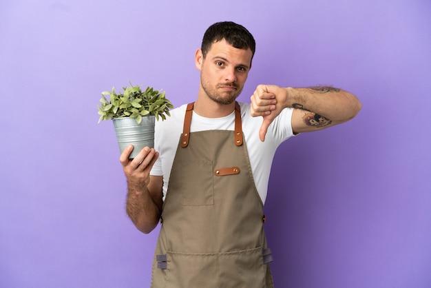 Jardineiro brasileiro segurando uma planta sobre um fundo roxo isolado, mostrando o polegar para baixo com expressão negativa