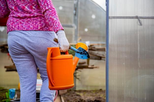 Jardineiro com luvas domésticas entra em um dia ensolarado de estufa, sem rosto
