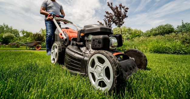 Jardineiro cortando a grama. projeto da paisagem. Foto Premium