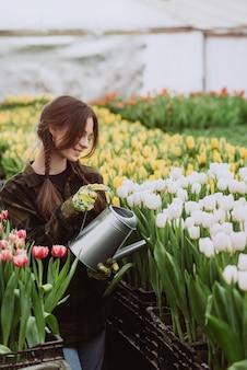 Jardineiro de jovem com luvas rega um canteiro de flores de tulipas usando um regador.