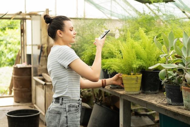 Jardineiro de linda menina adolescente com roupa casual tira foto de plantas no telefone para blog.