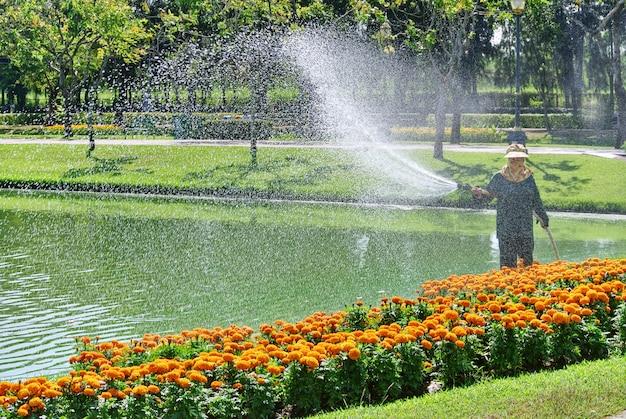 Jardineiro irreconhecível regar plantas coloridas de floração à beira do lago