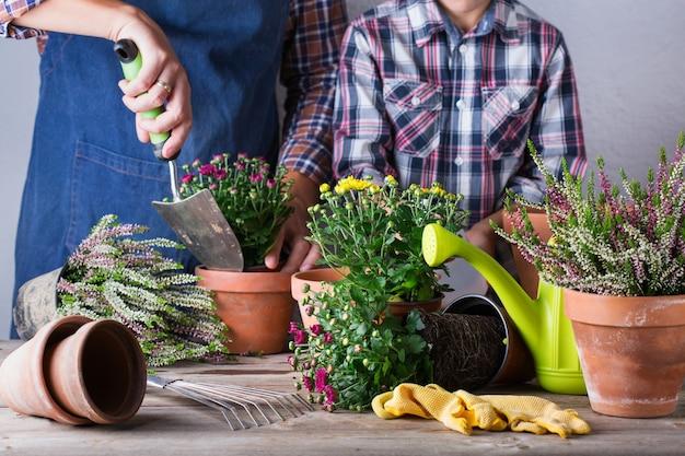 Jardineiro, pai e filho, filho durante a estadia em casa.