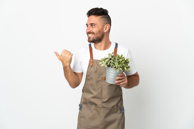 Jardineiro segurando uma planta sobre um fundo branco isolado apontando para o lado para apresentar um produto