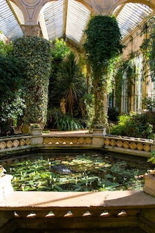 Jardins de inverno imponentes, casa castelo ashby midlands inglaterra