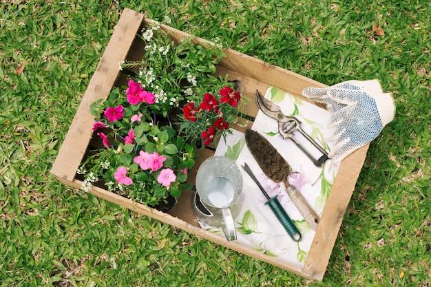 Jarro metálico perto de flores e equipamentos de jardim em recipiente de madeira