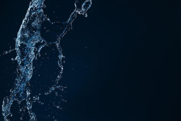 Jato de água limpa caindo sobre um fundo preto vazio