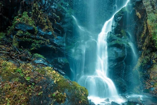 Jatos de cachoeira em uma floresta montanhosa no japão