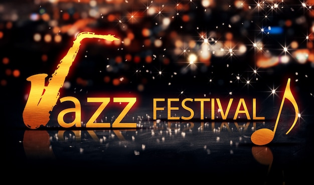 Jazz festival saxophone gold city bokeh star shine amarelo 3d