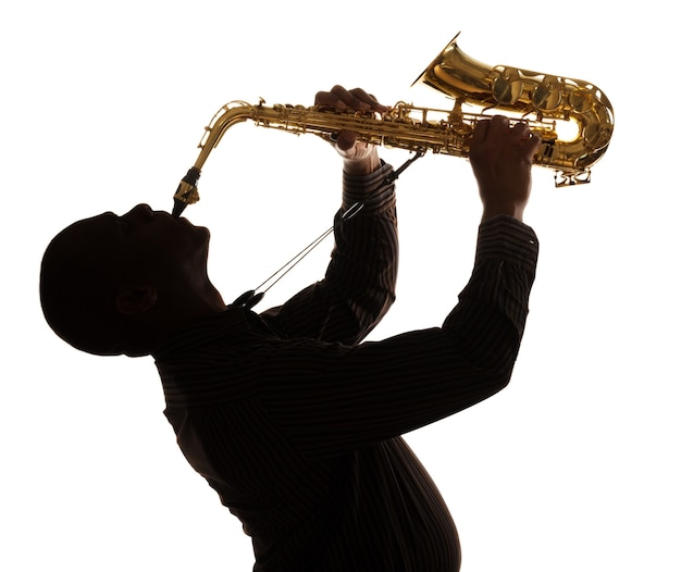 Jazz saxofone música saxofonista paixão blues silhueta