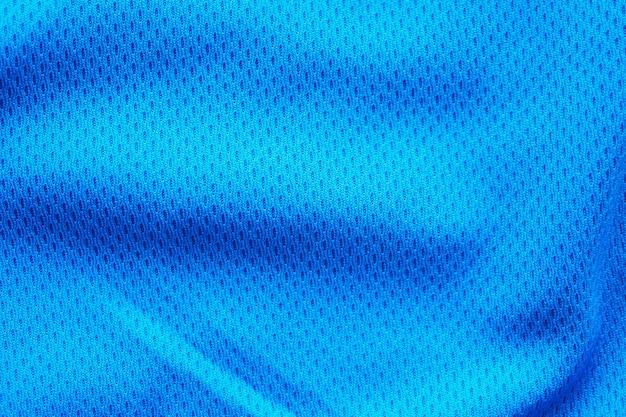 Jérsei de futebol de tecido azul para roupas esportivas com fundo de malha de ar