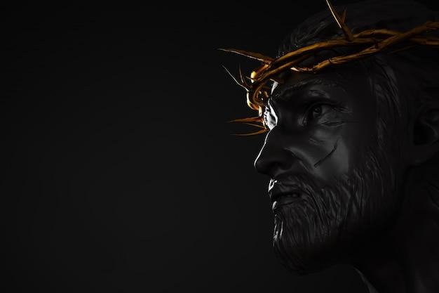 Jesus cristo estátua com ouro coroa de espinhos renderização 3d ângulo lateral espaço vazio