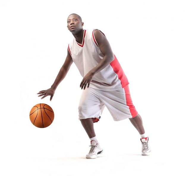 Jogador basquetebol, com, um, bola