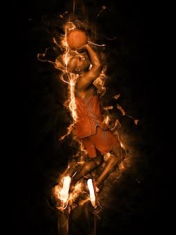 Jogador de basquete atirando no fogo