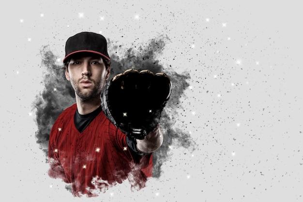 Jogador de beisebol com um uniforme vermelho saindo de uma rajada de fumaça.