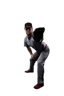 Jogador de beisebol com uniforme vermelho.