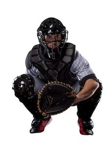 Jogador de beisebol do apanhador.