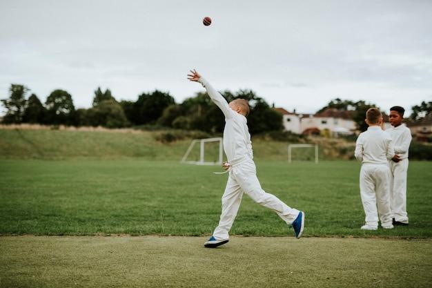 Jogador de críquete, pegando uma bola