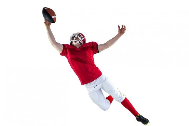 Jogador de futebol americano, marcando um touchdown