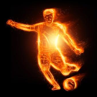 Jogador de futebol ardente isolado em fundo escuro. o conceito de apostas esportivas, futebol, jogos de azar, transmissão online de futebol. ilustração 3d, renderização em 3d.