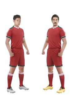 Jogador de futebol asiático em pé