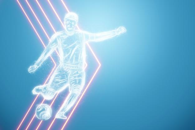 Jogador de futebol do holograma sobre um fundo azul. o conceito de apostas esportivas, futebol, jogos de azar, transmissão online de futebol. ilustração 3d, renderização em 3d.