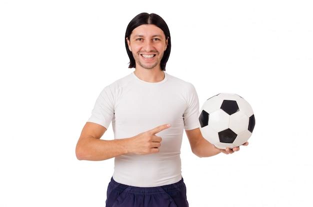 Jogador de futebol jovem isolado no branco