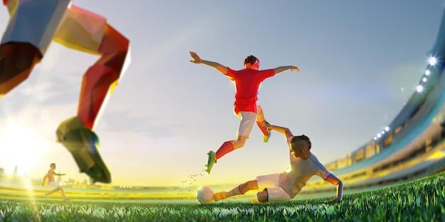 Jogador de futebol no ataque. estilo de polígono