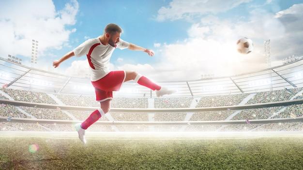 Jogador de futebol profissional chutando uma bola
