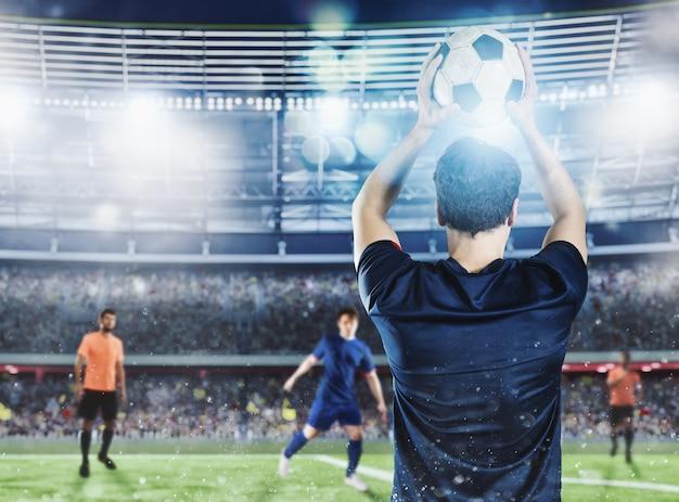 Jogador de futebol pronto para passar a bola no estádio durante uma partida noturna.