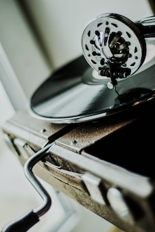 Jogador de gramofone close-up