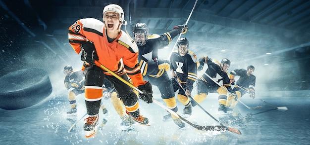Jogador de hóquei de mulher caucasiana e equipe masculina deslizando chutando o gelo. Foto Premium
