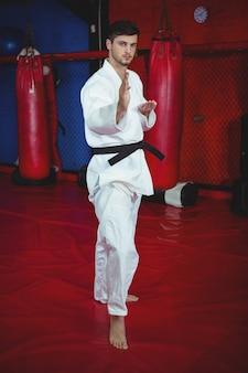 Jogador de karatê, executando a postura de karatê