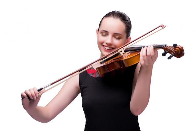 Jogador de violino jovem elegante isolado no branco