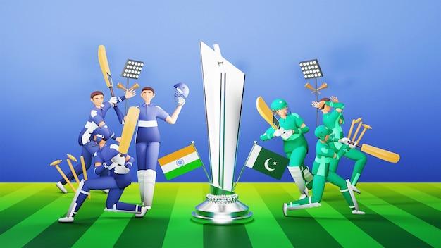 Jogadores participantes da equipe de críquete da índia vs paquistão com o troféu de prata e equipamento de torneio no parque infantil azul e verde. renderização 3d.